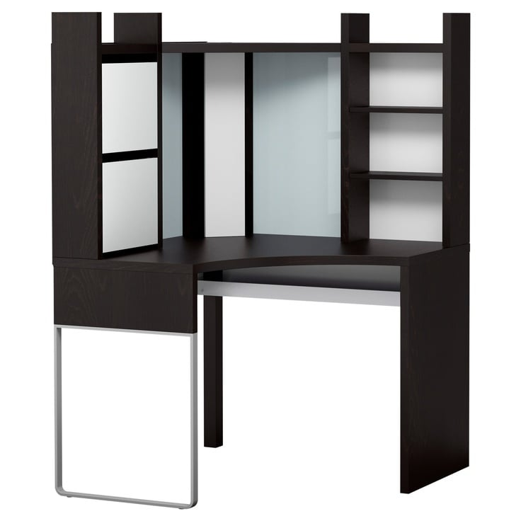 any suggestions on how to make micke corner desk work with dual screens. Black Bedroom Furniture Sets. Home Design Ideas