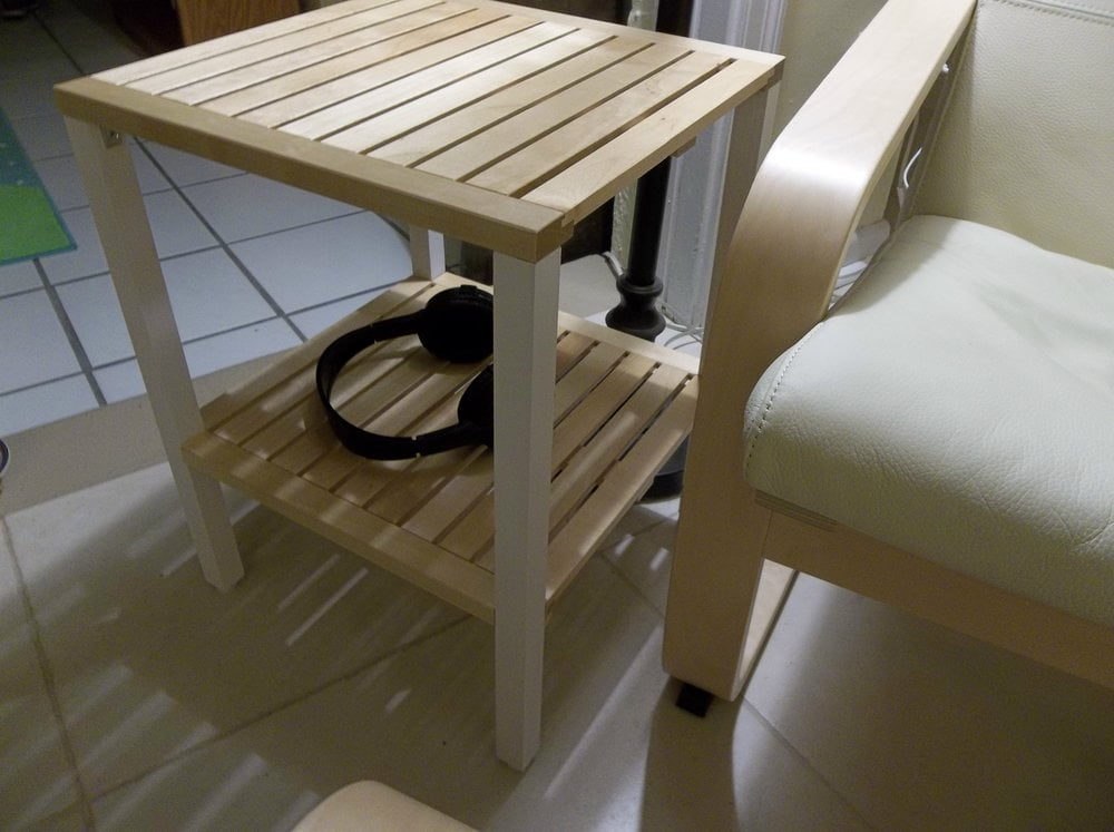 simple sleek and easy side table from molger tiles ikea hackers ikea hackers. Black Bedroom Furniture Sets. Home Design Ideas
