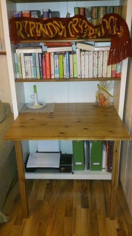 Desk in bookcase