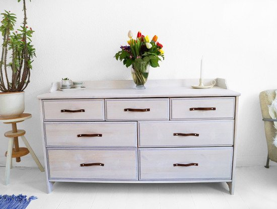 Tool Chest Dresser Makeover: LEKSVIK Drawer Makeover With Whitewash Paint And Leather