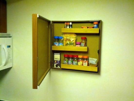 hidden spice rack open