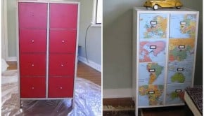 decoupage map dresser