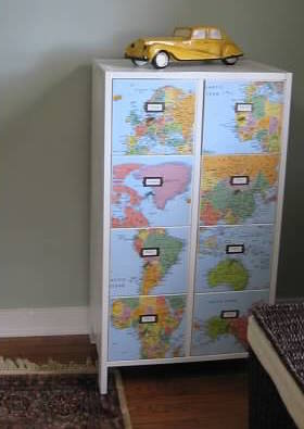 Decoupage map on drawers