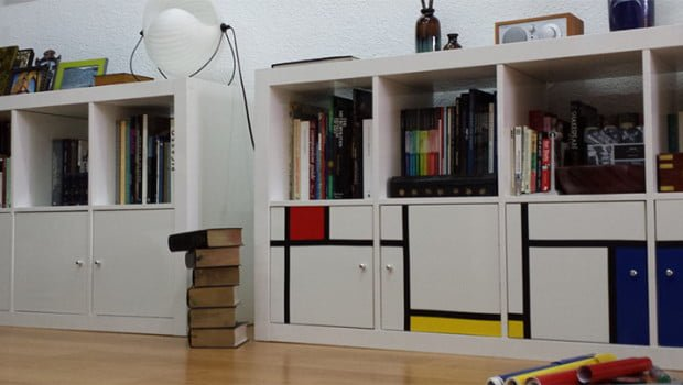 Piet Mondrian Inspired Upgrade To Plain Expedit Bookcase