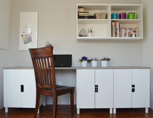 STUVA Desk Hack With Faux Concrete Tabletop