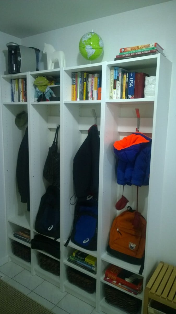 Built In Entryway Cubbies Using IKEA BILLY Bookcases