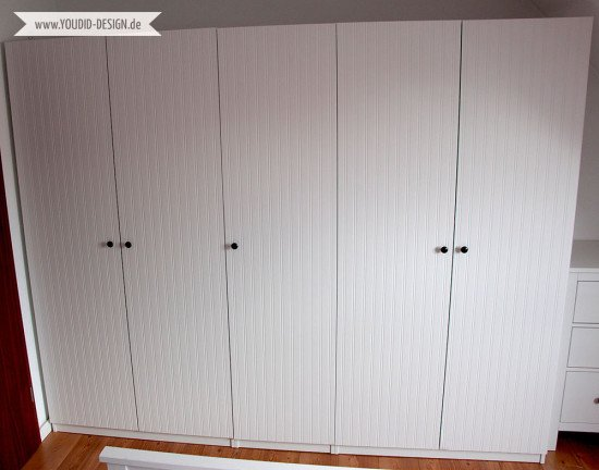 Pax wardrobe closet makeover with beadboard wallpaper for Ikea brimnes wardrobe hack