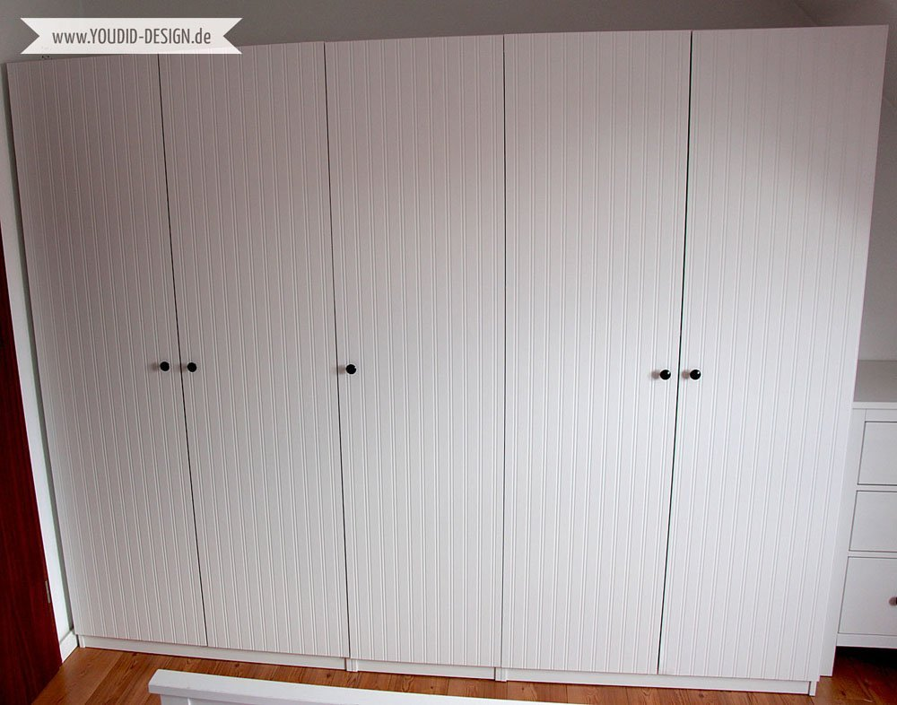 Pax Wardrobe Closet Makeover With Beadboard Wallpaper