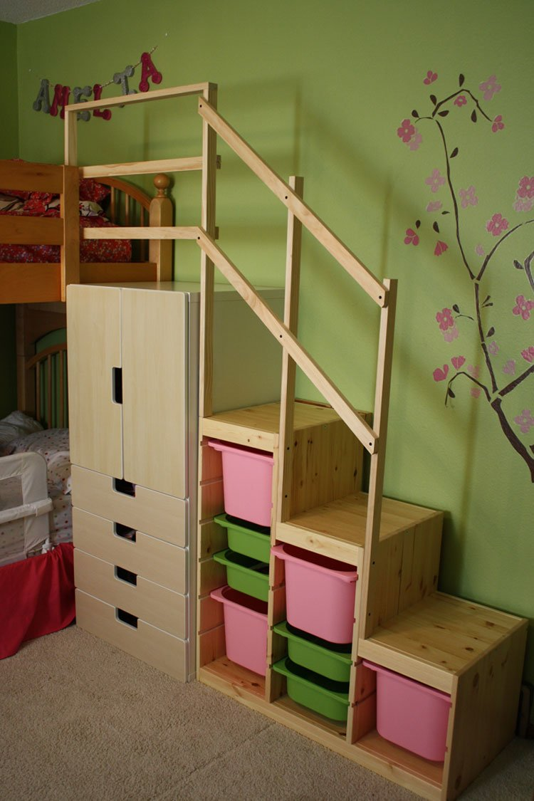 Easy full height bunk bed stairs ikea hackers ikea hackers for Bunk beds for kids with stairs