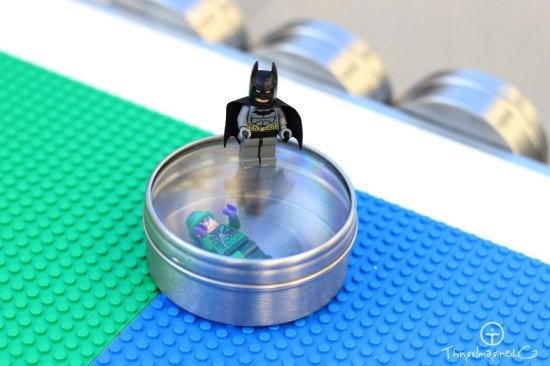 Magnetic canister with lego batman