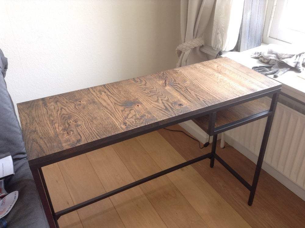 Vittsj laptop table upgrate to industrial style bureau for Bureau table