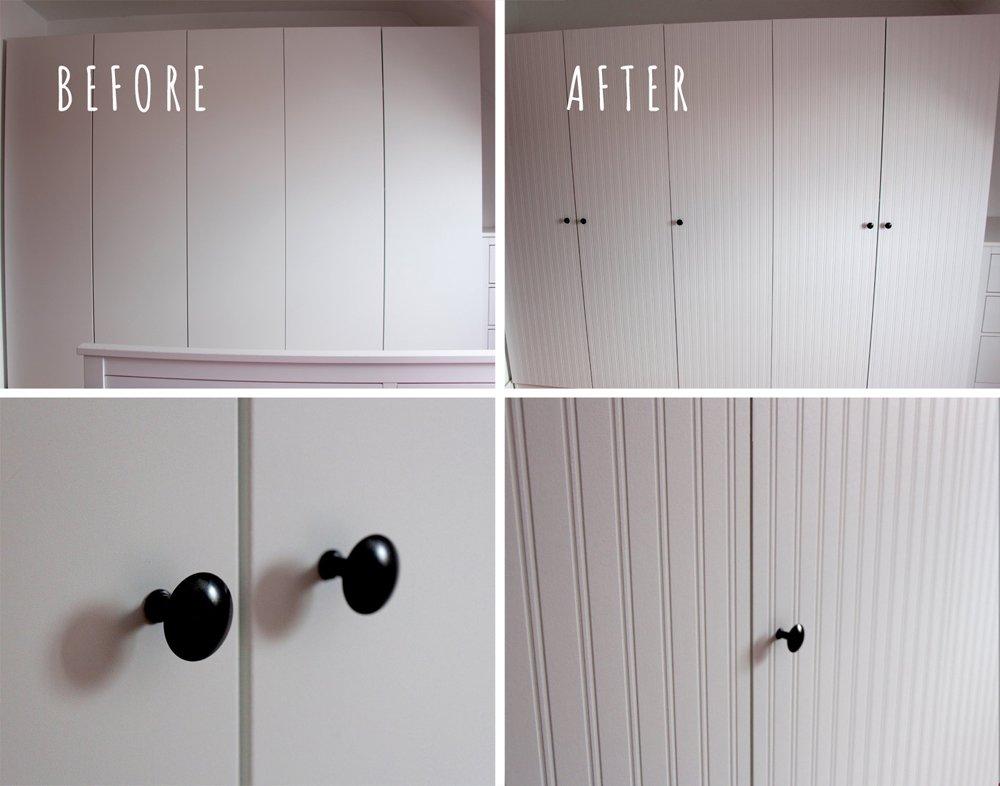 Pax Wardrobe Closet Makeover With Beadboard Wallpaper Ikea Hackers