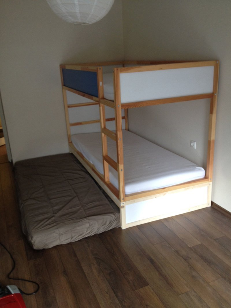 bunk bed extra hidden bed sleeps 3 ikea hackers ikea hackers