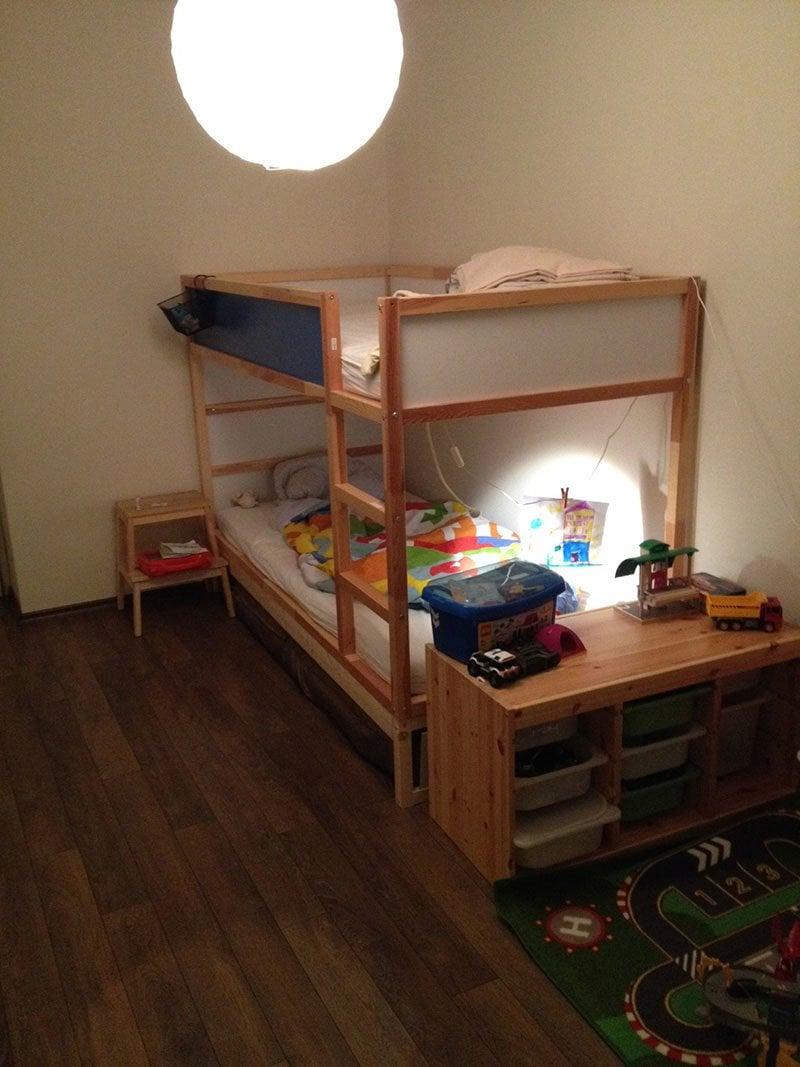 Ikea kura double bunk bed extra hidden bed sleeps 3 for 3 beds in one bunk bed