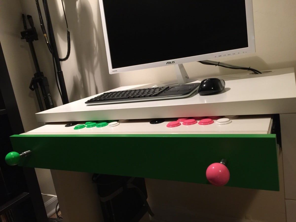 MICKE Computer Desk Arcade Stick Hack - IKEA Hackers - IKEA Hackers