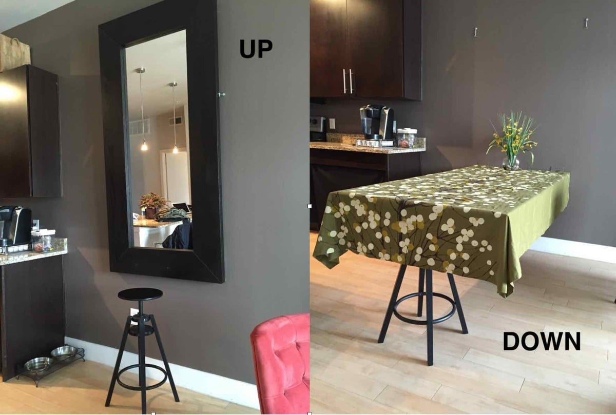 A hideaway dining table using ikea mirror ikea hackers for Table salle a manger pliante