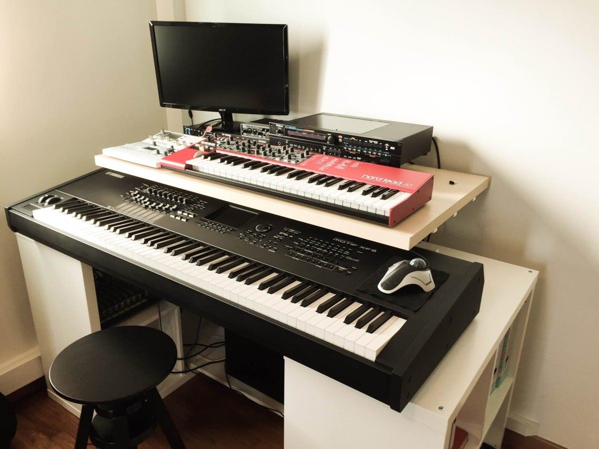 home studio desk with IKEA parts