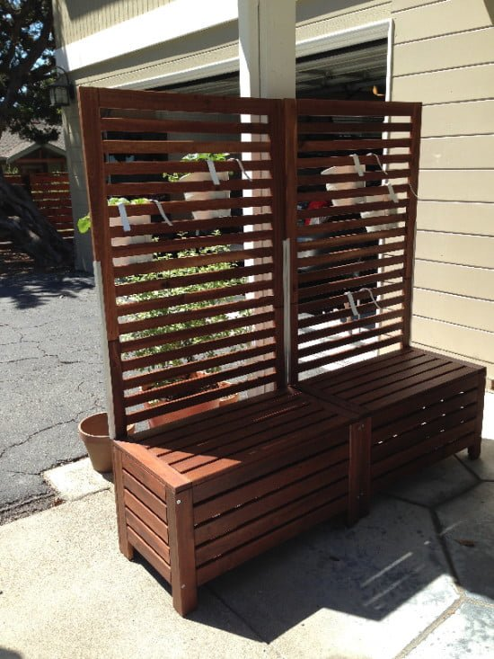 Applaro free standing bench and trellis hack ikea hackers for Tall outdoor privacy screen panels