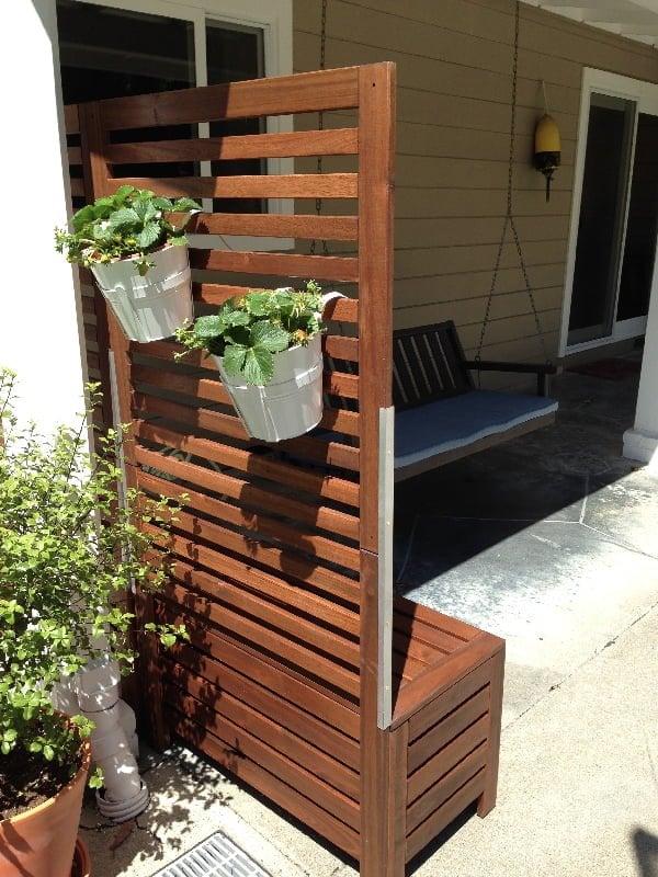 freestanding trellis with bench seating - IKEA APPLARO hack
