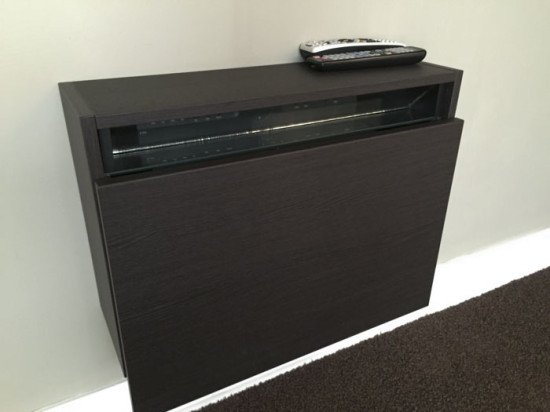 Genial My Hack Is An Ikea Wall Cabinet That I Modified To Hold A Small TV Cable /  Satellite Box. It Mounts Below A Wall Mounted TV, Keeping Everything Neat  And ...