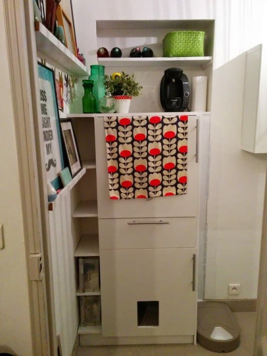 Built-in storage and cat litter