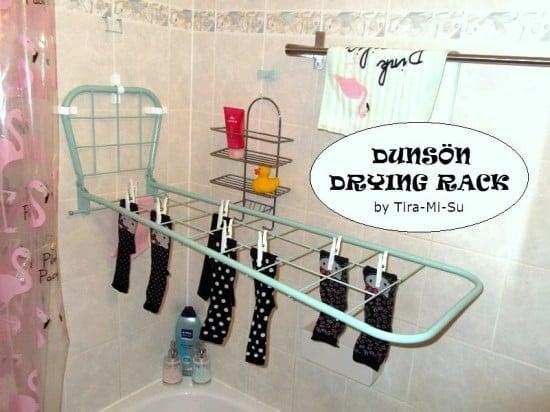 1) IKEA Hack DUNSÖN foldable drying rack - Karre Spalier in hellgrün od. pastelltürkis als Wäscheständer