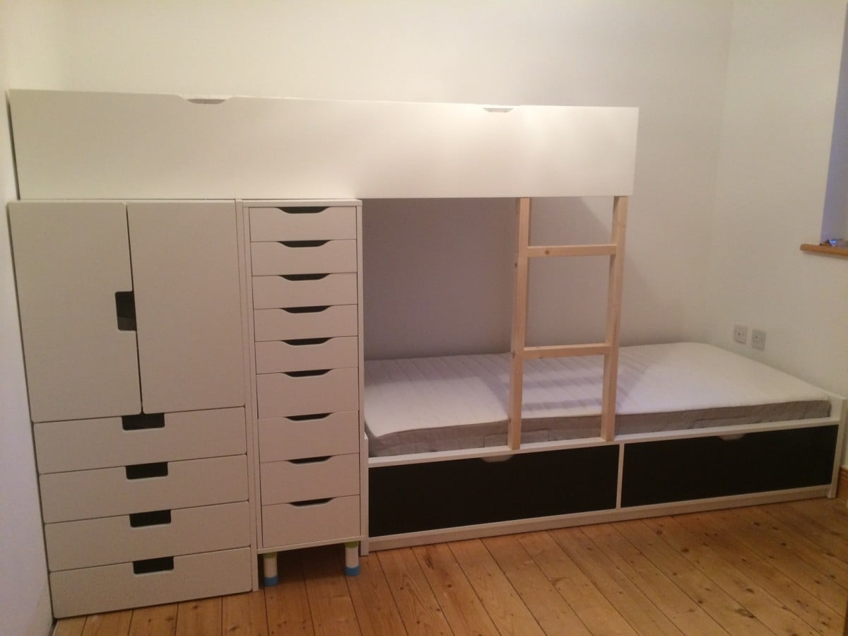 Bed Frame With Storage FLAXA Bunk Bed with lots of storage - IKEA Hackers