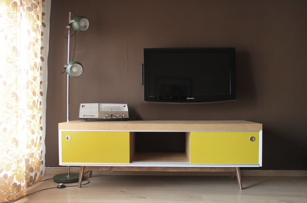 old ikea lack tv furniture hacked into vintage style. Black Bedroom Furniture Sets. Home Design Ideas