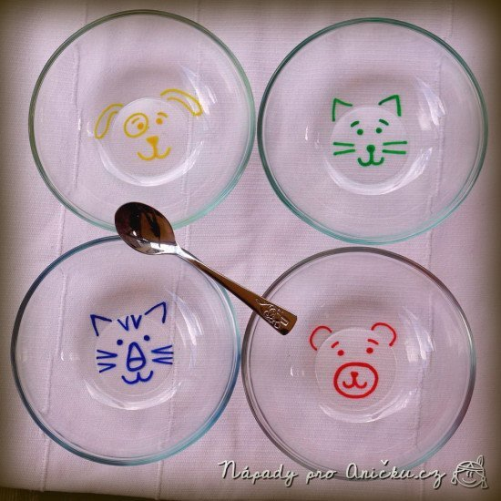 Glass bowls with animals faces