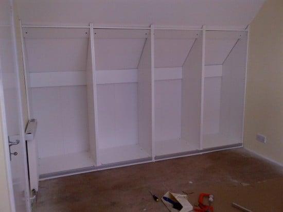 Sliding wardrobe for slanted ceiling