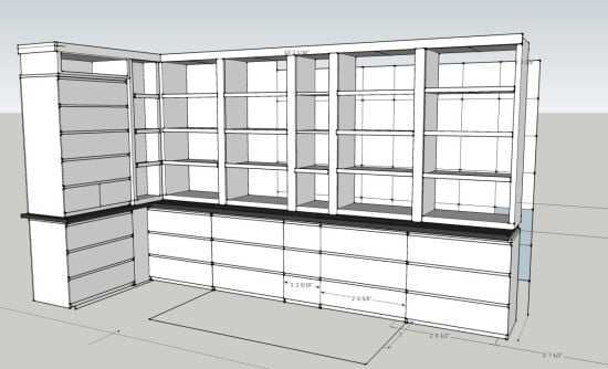 Living Room Shelves 1_2 Corner 2_2_1_2_2 White Corrrect Shelves 16 Drawers Malm