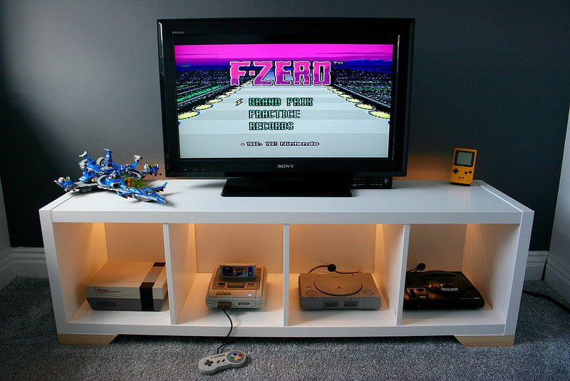 kallax retro console display ikea hackers ikea hackers. Black Bedroom Furniture Sets. Home Design Ideas