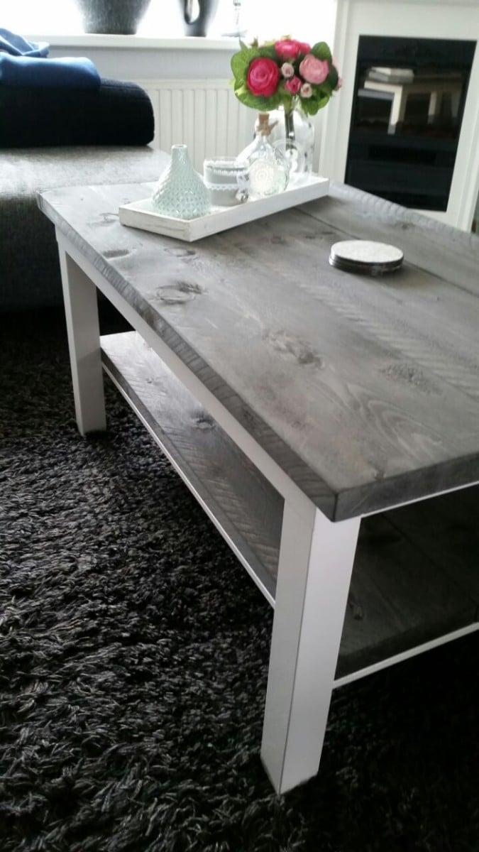 Ikea lack rustic coffee table diy ikea hackers ikea hackers - Table basse lack ikea ...