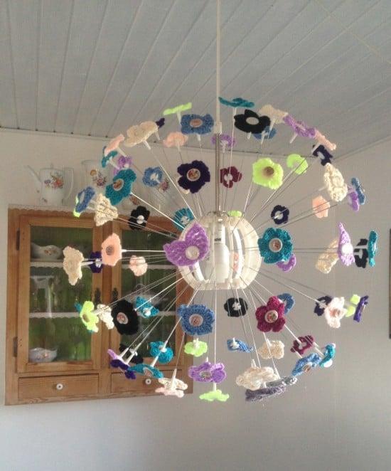 IKEA Maskros crochet lamp