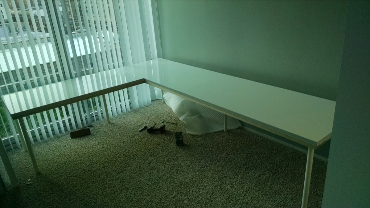 Large Corner Desk Upsized From Ikea Linnmon Tables Ikea Hackers
