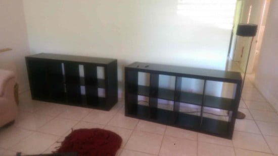 Built-in IKEA EXPEDIT entertainment center - two pieces