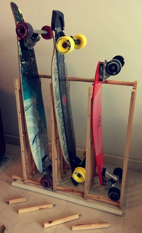 The £6 Skateboard / Longboard Rack | IKEA Hackers
