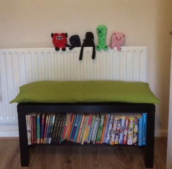 LACK TV unit into bookshelf bench