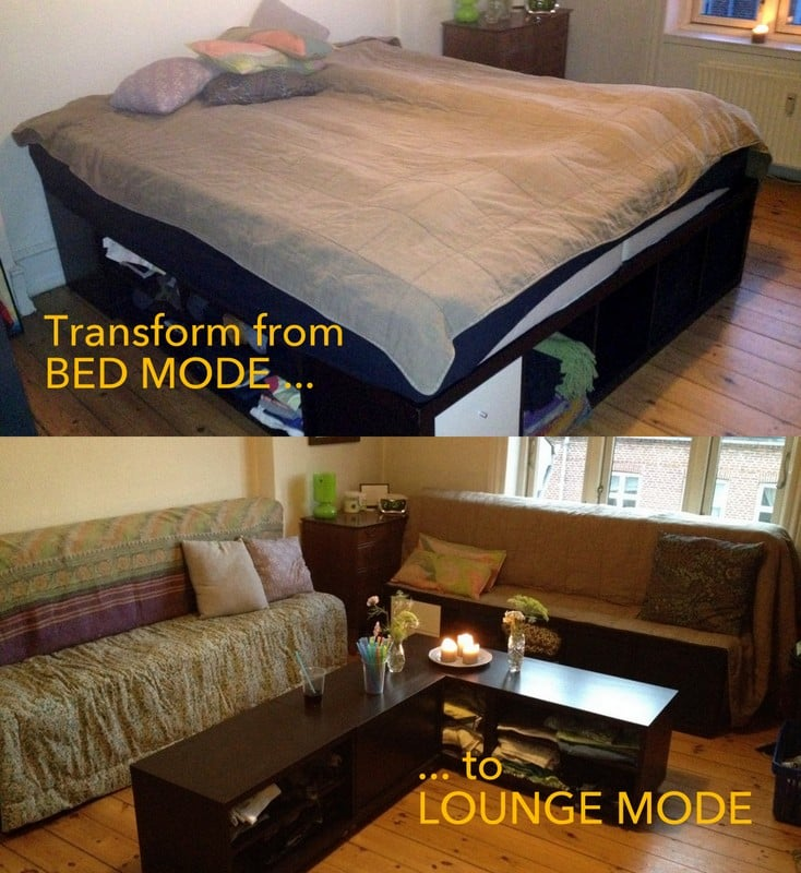 Awesome Transformable EXPEDIT Bed to Lounge set IKEA Hackers