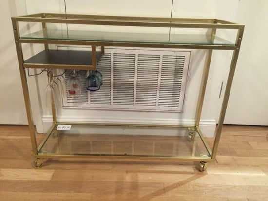 IKEA VITTSJO laptop table turns into classy gold bar cart - completed