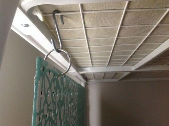 Attaching stenciled pegboard organizer under TROMSO loft bed