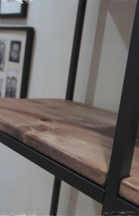 Close up of industrial VITTSJO shelves