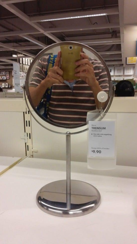 Solar powered edge lighted IKEA TRENSUM vanity mirror