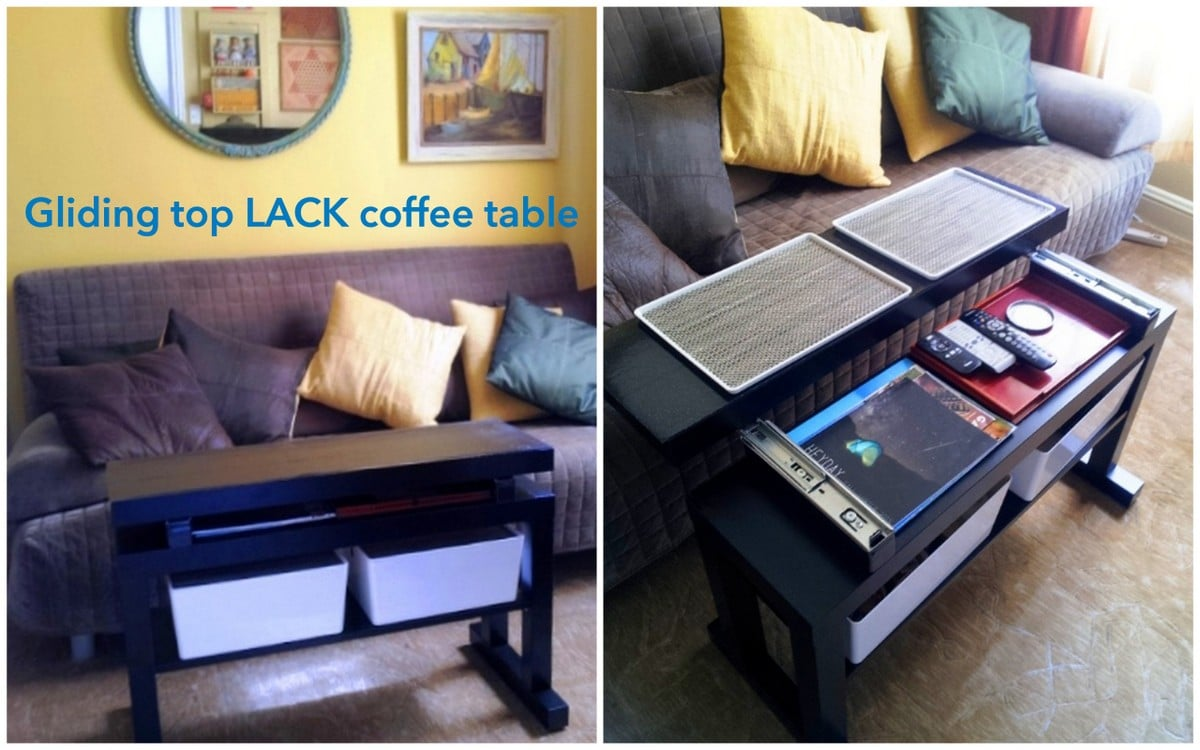 Gliding top cantilever lack coffee table with bin lids that gliding top cantilever lack coffee table with bin lids that convert to tv trays geotapseo Images