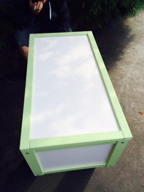 APA toy storage box turned DIY Play Fridge