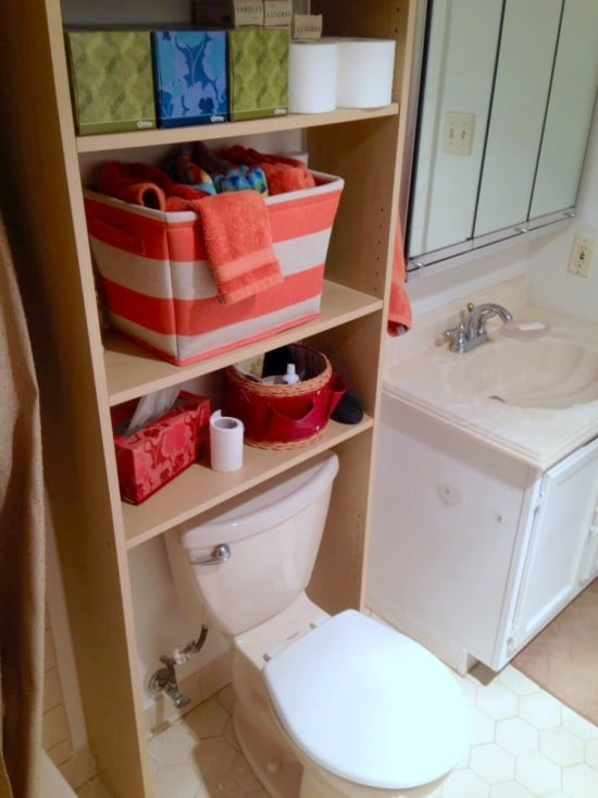 IKEA bookshelf hacked for over the toilet storage
