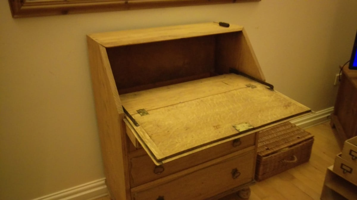refurbished antique bureau with an ikea twist ikea hackers ikea hackers. Black Bedroom Furniture Sets. Home Design Ideas