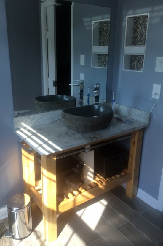 IKEA Groland Kitchen Island makes a handsome Granite topped Bathroom Vanity
