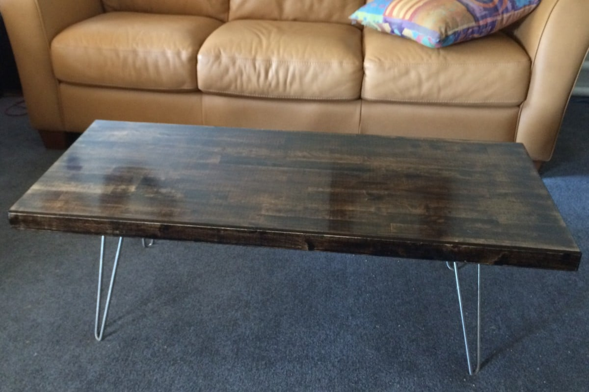 IKEA Groland Kitchen Island Butcher Block Hacked Into Coffee Table With  Hairpin Legs