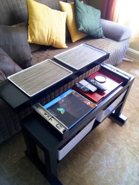 Gliding top cantilever LACK coffee table - open